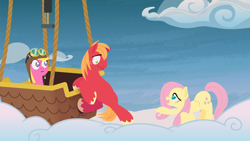 Size: 1920x1080 | Tagged: safe, anonymous artist, big macintosh, cherry berry, fluttershy, earth pony, pegasus, pony, series:fm holidays, cloud, cloud walking spell, female, fluttermac, hot air balloon, lineless, male, mare, nervous, no pupils, shipping, stallion, straight, wavy mouth