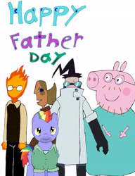 Size: 2318x3018   Tagged: safe, artist:pokeneo1234, bow hothoof, crossover, daddy pig, father, father's day, grillby, invader zim, male, peppa pig, professor membrane, smile for me, trencil varnnia, undertale