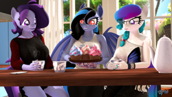 Size: 1920x1080 | Tagged: safe, artist:anthroponiessfm, oc, oc:aurora starling, oc:midnight grave, oc:raven storm, anthro, bat pony, earth pony, pony, 3d, anthro oc, bat pony oc, bat wings, clothes, cup, cupcake, cute, female, food, glasses, grin, shirt, sleeveless, sleeveless shirt, smiling, source filmmaker, suprised look, tail, tea, teacup, teapot, wings