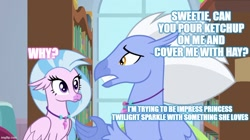 Size: 888x499 | Tagged: safe, edit, edited screencap, screencap, silverstream, sky beak, twilight sparkle, classical hippogriff, hippogriff, a horse shoe-in, caption, cute, diastreamies, father and child, father and daughter, female, image macro, implied twilight sparkle, jewelry, male, necklace, shipping, straight, text, that pony sure does love burgers, twibeak, twilight burgkle