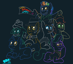Size: 4200x3700 | Tagged: safe, artist:rupertbluefox, bow hothoof, bright mac, firelight, gentle breeze, hondo flanks, igneous rock pie, night light, earth pony, pegasus, pony, unicorn, bipedal, cheek fluff, colored sketch, dark background, father's day, flag, minimalist, missing cutie mark, modern art, sitting, smiling, straw in mouth