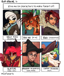 Size: 1050x1254   Tagged: safe, artist:fluff-kevlar, captain celaeno, anthro, big cat, bird, duck, griffon, human, lion, six fanarts, my little pony: the movie, alastor, chest fluff, clothes, crossover, della duck, ducktales, ear piercing, earring, female, final fantasy, final fantasy vii, glasses, goggles, grin, harry potter, hat, hazbin hotel, jewelry, minerva mcgonagall, piercing, pirate hat, red (transistor), red xiii, smiling, transistor, witch hat