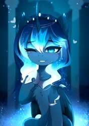 Size: 2895x4096 | Tagged: safe, artist:magnaluna, princess luna, alicorn, cheek fluff, chest fluff, crown, cute, ear fluff, fangs, female, heart, high res, hoof shoes, jewelry, leg fluff, lunabetes, mare, one eye closed, regalia, smiling, solo, wing claws, wink