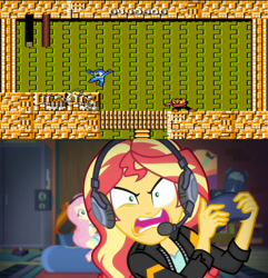 Size: 1280x1330 | Tagged: safe, artist:yuseifan4life, edit, edited screencap, screencap, fluttershy, sunset shimmer, equestria girls, equestria girls series, game stream, spoiler:eqg series (season 2), elec man, game, megaman, rage, sunset shimmer frustrated at game