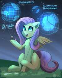 Size: 2000x2500 | Tagged: safe, artist:freak-side, fluttershy, pegasus, pony, chest fluff, female, floppy ears, grass, high res, hologram, hoof hold, looking at something, looking up, mare, night, open mouth, outdoors, raised hoof, science fiction, sitting, solo, spread wings, symbols, three quarter view, wings