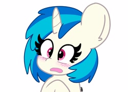 Size: 2048x1475 | Tagged: safe, artist:kittyrosie, dj pon-3, vinyl scratch, pony, unicorn, blushing, bust, cute, female, mare, missing accessory, open mouth, simple background, solo, vinylbetes, white background