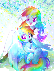 Size: 2056x2740 | Tagged: safe, artist:bronyazaych, artist:liaaqila, rainbow dash, pegasus, pony, equestria girls, chest fluff, clothes, collaboration, cute, dashabetes, high res, human ponidox, mary janes, open mouth, self ponidox, shoes, sitting, smiling, traditional art