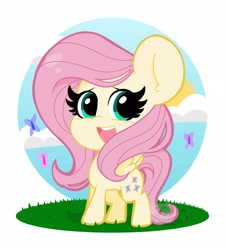 Size: 1900x2100 | Tagged: safe, artist:kittyrosie, part of a set, fluttershy, butterfly, pegasus, pony, blushing, chibi, cloud, cute, female, looking at you, mare, open mouth, partial background, shyabetes, sky, smiling, solo, spread wings, standing, three quarter view, wings