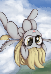Size: 1100x1600 | Tagged: safe, artist:t72b, derpibooru exclusive, derpy hooves, pegasus, pony, :p, atg 2020, cloud, cute, derpabetes, female, mare, mlem, newbie artist training grounds, on a cloud, on back, silly, silly pony, solo, tongue out, upside down