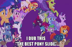 Size: 1024x671 | Tagged: safe, edit, edited screencap, screencap, fizzlepop berrytwist, flash sentry, gallus, moondancer, night light, owlowiscious, princess cadance, princess celestia, princess flurry heart, princess luna, shining armor, spike, star swirl the bearded, starlight glimmer, stygian, sunburst, sunset shimmer, tempest shadow, thorax, trixie, twilight velvet, alicorn, changedling, changeling, earth pony, griffon, pegasus, pony, unicorn, the last problem, best pony, caption, female, flying, image macro, king thorax, male, mare, smiling, stallion, text