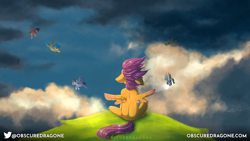 Size: 1920x1080 | Tagged: safe, artist:obscuredragone, scootaloo, pegasus, pony, cliff, cloud, female, filly, floppy ears, flying, male, mare, scootaloo can't fly, stallion