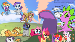 Size: 1920x1080 | Tagged: safe, artist:ponyhell, apple bloom, applejack, fluttershy, pinkie pie, rainbow dash, rarity, spike, sweetie belle, twilight sparkle, twist, dragon, earth pony, pegasus, pony, unicorn, my little pony: pony life, atg 2020, basket, bliss, book, flower, gravestone, land mine, newbie artist training grounds, respect, sad, smiling, upside down