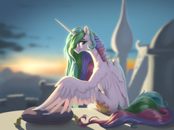 Size: 2224x1668 | Tagged: safe, artist:nadnerbd, princess celestia, alicorn, pony, blurry background, butt, canterlot, canterlot castle, cushion, female, looking at you, looking back, looking back at you, mare, pillow, plot, profile, sitting, smiling, solo, spread wings, sunrise, wings
