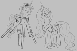 Size: 1797x1191 | Tagged: safe, artist:mkogwheel, princess celestia, princess luna, alicorn, pony, brony bash online, sketch, sketches from a hat, stilts