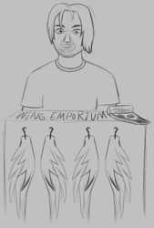 Size: 994x1469 | Tagged: safe, artist:mkogwheel, human, barely pony related, brony bash online, fake wings, food, lineart, m.a. larson, male, meat, meme, monochrome, pepperoni, pepperoni pizza, pizza, sketch, sketches from a hat, solo, thanks m.a. larson, traditional art, wings