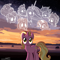 Size: 4000x4000 | Tagged: safe, artist:andoanimalia, artist:cloudyglow, artist:illumnious, artist:melisareb, artist:memnoch, artist:mycaro, applejack, fluttershy, luster dawn, pinkie pie, rainbow dash, rarity, spike, twilight sparkle, alicorn, dragon, earth pony, pegasus, pony, unicorn, the last problem, absurd resolution, alternate hairstyle, bust, female, gigachad spike, looking down, looking up, male, mane seven, mane six, mare, older, older applejack, older fluttershy, older mane seven, older mane six, older pinkie pie, older rainbow dash, older rarity, older spike, older twilight, princess twilight 2.0, shadow, show accurate, smiling, sunset, twilight sparkle (alicorn), vector