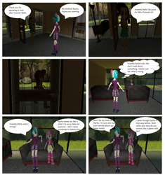 Size: 1176x1251 | Tagged: safe, artist:brightstar40k, coco pommel, rarity, sweetie belle, comic:sweetie belle's tie up game, equestria girls, 3d, boots, clothes, couch, crystal prep academy uniform, dialogue, fall formal outfits, jacket, looking at each other, school uniform, shoes, skirt, source filmmaker, speech bubble, t pose, thought bubble
