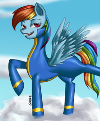 Size: 1240x1507   Tagged: safe, artist:nire, rainbow dash, pegasus, pony, bedroom eyes, blurred background, bodysuit, clothes, ear fluff, female, looking at you, mare, smiling, smiling at you, solo, stretching, uniform, wings, wonderbolts uniform