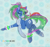 Size: 3508x3306 | Tagged: safe, artist:srk-arts, oc, oc only, earth pony, pony, abstract background, blue, cutie mark, dancing, festival, glow, happy, jumping, one eye closed, party, pattern, solo, streak, tongue out, wink, winking at you
