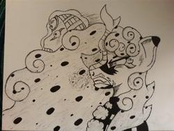 Size: 4128x3096 | Tagged: safe, artist:cello-horse, oc, oc only, oc:pepper, kirin, angery, diavolo, duo, ink drawing, jjba, jojo's bizarre adventure, king crimson, kirin oc, narrowed eyes, rage, traditional art