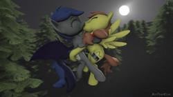 Size: 1280x720 | Tagged: safe, alternate version, artist:batponyecho, oc, oc only, oc:echo, oc:rory kenneigh, bat pony, pegasus, pony, 3d, bat pony oc, bat wings, commission, cutie mark, eyes closed, female, flying, forest, kissing, male, mare, moon, night, oc x oc, shipping, source filmmaker, spread wings, stallion, straight, tail, tree, wings, ych result