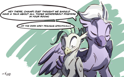 Size: 1804x1116 | Tagged: safe, artist:kam, sky beak, terramar, classical hippogriff, hippogriff, dad, father and child, father and son, gay, implied gay, implied thunderlane, male, text, wonderbolts