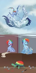Size: 1280x2609 | Tagged: safe, artist:varwing, rainbow dash, soarin', tank, pony, colored wings, colored wingtips, female, male, scroll, shipping, soarindash, straight