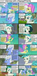 Size: 1282x2590 | Tagged: safe, ocean flow, sky beak, terramar, hippogriff, seapony (g4), comic:celestia's servant interview, beak, caption, cs captions, family, father and child, father and son, female, fins, interview, male, mother and child, mother and son, mount aris, wings