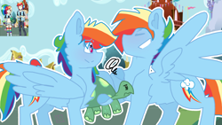 Size: 2560x1440   Tagged: safe, artist:shinningblossom12, rainbow dash, tank, human, pegasus, pony, tortoise, chest fluff, clothes, eyes closed, female, frown, grin, hoof hold, humanized, male, mare, r63 paradox, rainbow blitz, redraw, rule 63, self ponidox, smiling, stallion