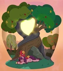 Size: 3060x3452 | Tagged: safe, artist:modularpon, artist:themodpony, part of a set, big macintosh, sugar belle, earth pony, pony, unicorn, apple, apple tree, crepuscular rays, female, heart, intertwined trees, male, mare, pear tree, rock, scenery, shipping, sleeping, stallion, straight, sugarmac, sun, sweet apple acres, tree