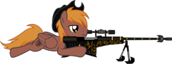 Size: 2683x995 | Tagged: safe, artist:vector-brony, oc, oc:calamity, pegasus, pony, fallout equestria, anti-machine rifle, anti-materiel rifle, cowboy hat, cutie mark, gun, hat, inkscape, male, rifle, simple background, smiling, sniper rifle, solo, spitfire's thunder, stetson, transparent background, vector, weapon