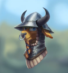 Size: 2703x2892 | Tagged: safe, artist:helmie-d, oc, oc:hard cider, bull, armor, bovine, braided beard, bust, chainmail, coif, helmet, horns, nose piercing, nose ring, padded coif, piercing, portrait