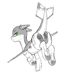 Size: 1006x1043 | Tagged: safe, artist:dimfann, oc, oc only, oc:ruffle, original species, plane pony, pony, butt engines, monochrome, plane, solo