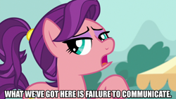 Size: 1280x720 | Tagged: safe, edit, edited screencap, editor:jaredking203, screencap, spoiled rich, earth pony, pony, where the apple lies, caption, cool hand luke, female, image macro, mare, meme, movie reference, reference, solo, spoiled milk, text, younger