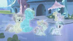 Size: 2000x1125 | Tagged: safe, screencap, bright smile, castle (crystal pony), fleur de verre, glass slipper, ivory, ivory rook, opal bloom, crystal pony, pony, the crystal empire, crystallized, eyes closed, female, filly, foal, male, mare, stallion