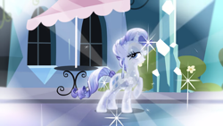 Size: 2000x1125 | Tagged: safe, screencap, rarity, crystal pony, pony, the crystal empire, alternate hairstyle, crystal rarity, crystallized, ear piercing, earring, grin, jewelry, lidded eyes, outfit catalog, piercing, raised hoof, smiling, solo, sparkles