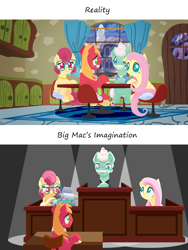 Size: 1920x2560 | Tagged: safe, anonymous artist, big macintosh, fluttershy, gentle breeze, posey shy, earth pony, pegasus, pony, series:fm holidays, courtroom, dramatic lighting, father's day, female, fluttermac, imagination, judge, lineless, male, mare, nervous, nervous smile, no pupils, shipping, shys, sitting, spotlight, stallion, straight, sweat, trial, typewriter, underhoof