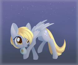 Size: 843x707 | Tagged: safe, artist:dusthiel, derpy hooves, pegasus, pony, atg 2020, bag, blue background, cheek fluff, cookie, cookie thief, cute, derpabetes, female, food, leg fluff, mare, mouth hold, newbie artist training grounds, simple background, solo