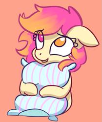 Size: 593x711   Tagged: source needed, safe, artist:lilfunkman, oc, oc only, oc:taco horse, heterochromia, hug, pillow, pillow hug, solo