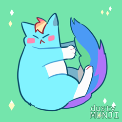 Size: 500x500 | Tagged: safe, artist:dusty-munji, rainbow dash, cat, blush sticker, blushing, catified, cute, dashabetes, eyes closed, green background, rainbow cat, simple background, solo, species swap