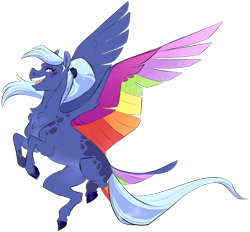 Size: 861x800   Tagged: safe, artist:vindhov, oc, oc only, pegasus, pony, colored wings, commission, female, flying, magical lesbian spawn, mare, multicolored wings, offspring, open mouth, parent:princess luna, parent:rainbow dash, parents:lunadash, ponytail, rainbow wings, realistic horse legs, simple background, solo, spread wings, tail feathers, transparent background, wings