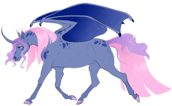 Size: 904x562 | Tagged: safe, artist:vindhov, oc, oc only, alicorn, bat pony, bat pony alicorn, pony, bat wings, colored hooves, commission, curved horn, female, horn, magical lesbian spawn, mare, offspring, parent:fluttershy, parent:princess luna, parents:lunashy, realistic horse legs, simple background, solo, transparent background, wings
