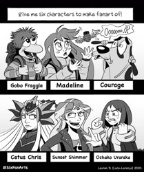 Size: 1080x1290 | Tagged: safe, artist:locolaranja, sunset shimmer, anthro, dog, human, six fanarts, equestria girls, angry, bust, cetus chris, clothes, courage the cowardly dog, crossover, female, fraggle rock, gobo fraggle, grayscale, jacket, madeline, monochrome, my hero academia, ochako uraraka, open mouth, saint seiya the lost canvas, scared, smiling, smirk
