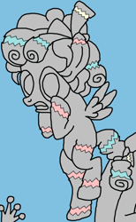 Size: 580x940 | Tagged: safe, artist:nopony, cozy glow, lord tirek, queen chrysalis, pegasus, pony, atg 2020, breaking free, cracks, female, filly, impending doom, legion of doom, legion of doom statue, newbie artist training grounds, solo focus, uh oh