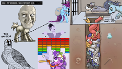 Size: 1920x1080 | Tagged: safe, artist:ponyhell, big macintosh, screwball, shining armor, smarty pants, soarin', thunderlane, trixie, bird, earth pony, human head pony, original species, pegasus, pony, unicorn, anthony hopkins, atari, atg 2020, baseball, baseball bat, bipedal, breakout, jail, newbie artist training grounds, prehensile tongue, sports, tunnel, video game