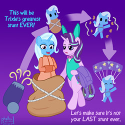 Size: 1000x1000 | Tagged: safe, artist:phallen1, starlight glimmer, trixie, pony, semi-anthro, arrows, atg 2020, bag, bondage, bunny ears, bunny suit, cannon, clothes, diagram, dialogue, escape act, leotard, newbie artist training grounds, parachute, pony cannonball, rope, straitjacket, stunt, trixie's cannon