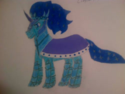 Size: 604x453 | Tagged: safe, alternate version, artist:drewcarriker6231993, king sombra, crystal pony, pony, umbrum, unicorn, fanfic:the redemption of king sombra, alternate design, alternate timeline, alternate universe, armor, bevor, blue eyes, blue fur, blue hair, boots, cape, chestplate, clothes, colored horn, crown, crystallized, crystallized pony, curved horn, fanfic art, good king sombra, gorget, helmet, horn, jewelry, king sideburns, race swap, reborn, reformed, regalia, robe, shoes, solo, sombra horn, sombra's horn, story included, summary included, tiara, traditional art, wavy hair, wavy mane, wavy tail