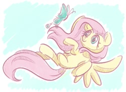 Size: 1029x753 | Tagged: safe, artist:musicfirewind, fluttershy, butterfly, pegasus, pony, female, flying, looking at something, looking up, mare, missing cutie mark, solo, spread wings, wings
