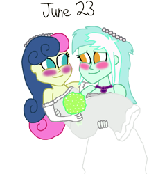 Size: 1280x1405 | Tagged: safe, artist:horroraceman93, bon bon, lyra heartstrings, sweetie drops, equestria girls, blushing, bridal carry, carrying, clothes, dress, female, lesbian, lyrabon, marriage, married, pride month, shipping, simple background, transparent background, wedding dress