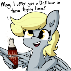 Size: 2250x2250 | Tagged: safe, artist:tjpones, derpy hooves, pegasus, pony, cute, derpabetes, dialogue, dr. pepper, female, frank reynolds, it's always sunny in fillydelphia, it's always sunny in philadelphia, mare, meme, open mouth, simple background, soda, solo, white background, wholesome, wing hands, wings